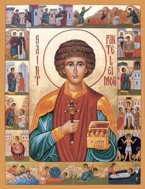 St. Panteleimon icon with Relics